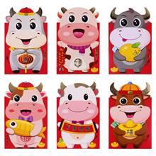 24 pçs ano novo chinês vermelho envelopes criativo vermelho pacotes desenhos animados sacos de dinheiro vermelho