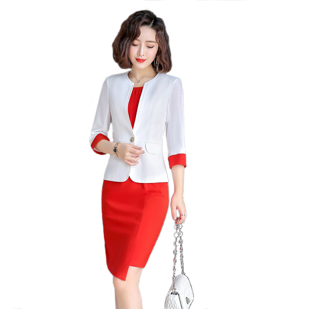 Dress with Suit Women 2020 Spring Office Lady Front Split Up Terno Mujer Dress 3/4 Sleeve Jacket 2 Piece Set Dress Suit 1909