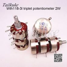 WTH118 triple potentiometer WTH-3L carbon film potentiometer 100K 220K 470K 1M 10K 22K
