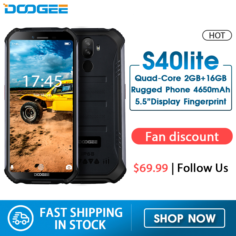 IP68 DOOGEE S40 Lite Quad Core 2GB 16GB Android 9.0 Rugged Phone Mobile Phone 5.5inch Display 4650mAh 8.0MP Fingerprint