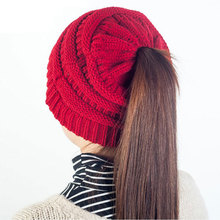 Autumn Winter Outdoor warm wool hat women Empty top horsetail knit Adult Skull Beanie Solid Hat Cotton Casual Beanies cap