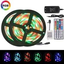 цена на LED Strip Light Flexible Ribbon RGB SMD 3528 Led Light Tape DC 12V  Remote Control  Adapter Waterproof 5m 10m 15m 20m