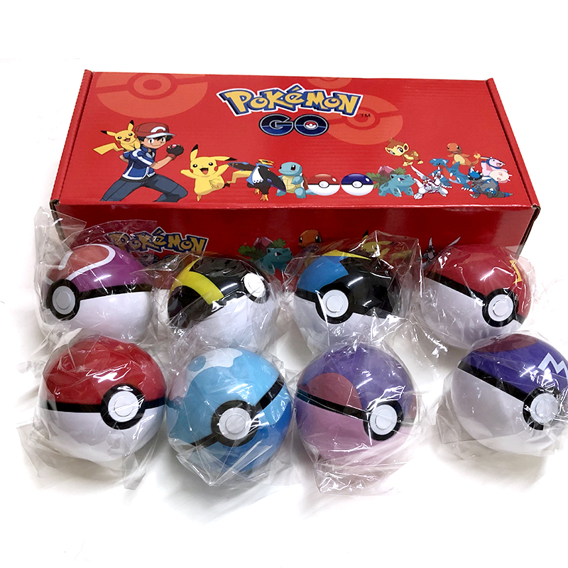 8Pcs/set Pokemon Pokeball Set Pop-up Elf Ball Toys Pokemon Monster Elf Ball Pikachu Kid Gift