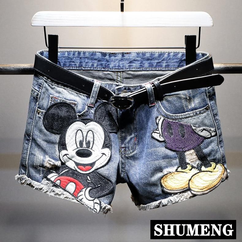 Women Shorts Denim Shorts Girls Summer Cartoon Print Plus Size Ripped Sequins High Waist Short Pants 2020 Hot Pants Jeans Shorts
