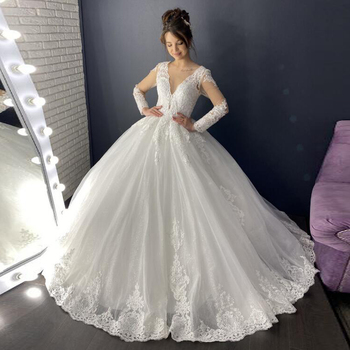 Eightale Wedding Dresses Ball Gown V-Neck Long sleeves Appliques Lace Princess Wedding Gowns Lace Up Elegant Bridal Dresses grey lace up design printed v neck long sleeves sweatshirts
