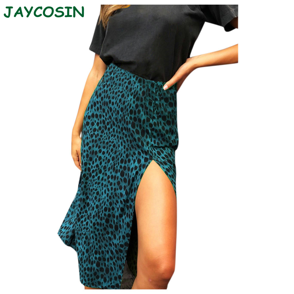 JAYCOSIN Fashion Skirts Womens Long High Waist Leopard Print Skirt In The Calf Sexy Girls Long Skirt Faldas Mujer Moda 2020 1009