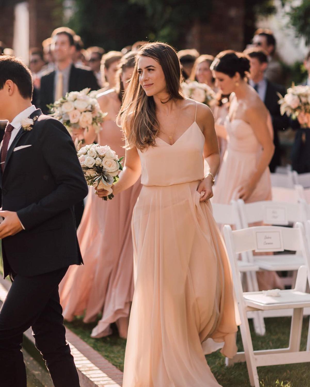 Simple Design Spaghetti Straps Bridesmaid Dresses Chiffon Maid Of Honor Dress For Wedding Party