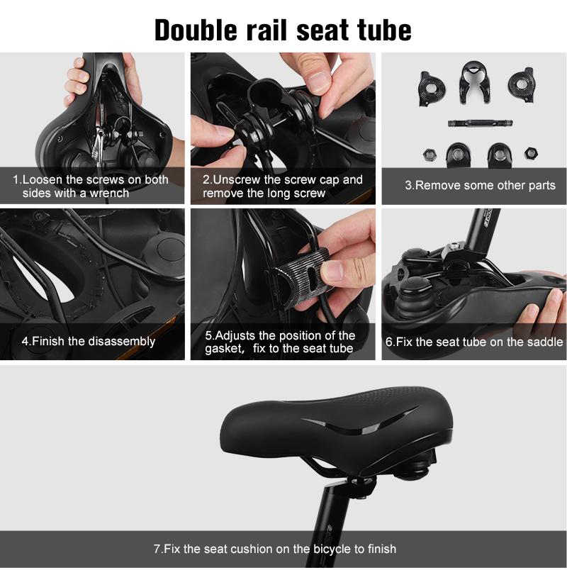 WEST BIKING Bike Saddle Shock Absorption Wide Seat Cushion+Reflective Strap S8Y2