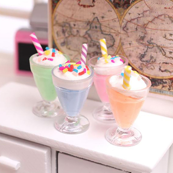 1pc Mini Drink Ice Cream Cups Model Pretend Play Food Doll Accessories Fit House Toy Dollhouse Miniature