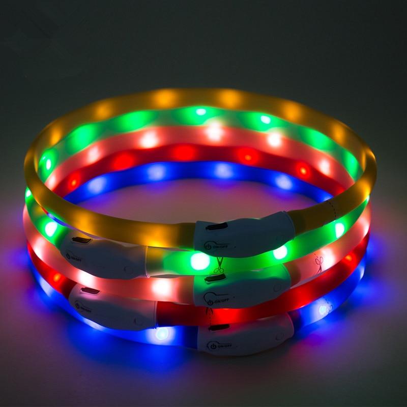 Evening Dog Pet Supplies LED Luminous Collar USB Charging Silica Gel Flash Dog Collar Hand Holding Rope Traction Belt
