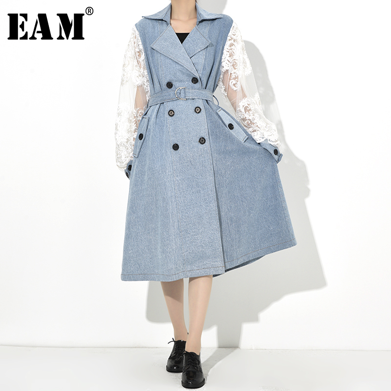 [EAM] Women Blue Lace Split Double Breasted Trench New Lapel Long Sleeve Loose Fit Windbreaker Fashion Spring Autumn 2020 1B0970