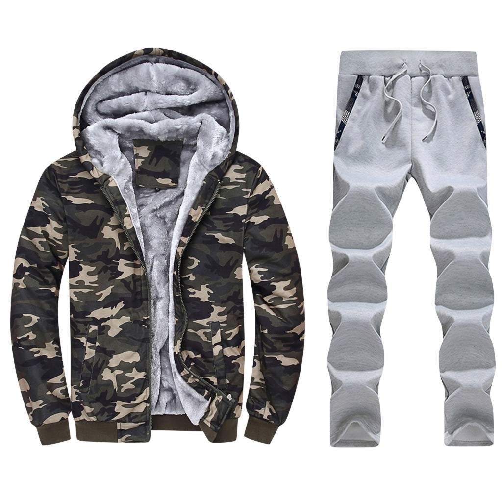 Mens Winter Tracksuits Jogging Suits Camouflage Hoodes Fleece Thick Warm  Hooded Sweat Sports Suits Active Active Tracksuits