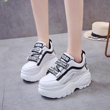 Sneakers women thick bottom chunky white black patchwork high