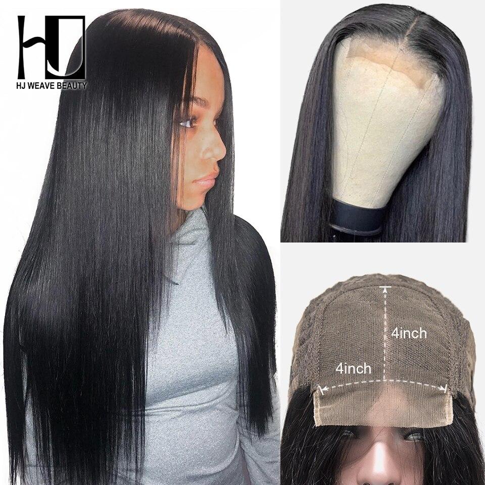 Perucas retas do cabelo humano das perucas 4x4 do fechamento do laço da densidade 180 para perucas brasileiras do cabelo humano da parte dianteira do laço 8-30 Polegada