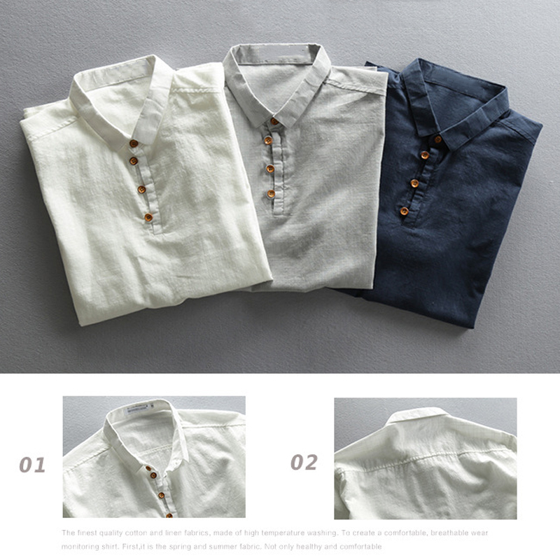 Pure Cotton Shirts Men Chinese Fashion Casual Men's Shirt Short Sleeve Plus Size 4XL Men Brand Clothing European Steetwear A736