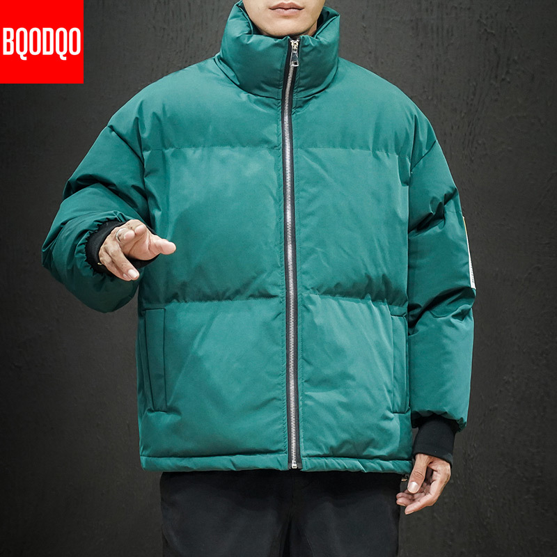 M-5XL Winter Jacket Men Parka White Thermal Fashion Stand Collar Jacket Male Warm Solid Hip Hop Thick Jackets And Coats Parkas