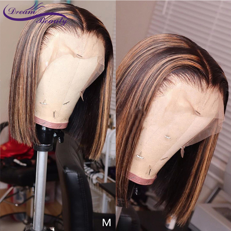 Ombre Highlight 13x6 Lace Front Human Hair Wigs Straight Blonde Highlights Color 180% Brazilian Remy Short Bob Wig Dream Beauty