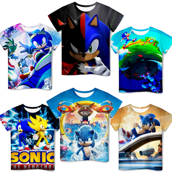 Kids 3D Sonic Print T Shirt Toddler O-neck Cartoon T-shirt Baby Boys Girls Anime Short Sleeved Tshirt Tee Tops Children Clothes image
