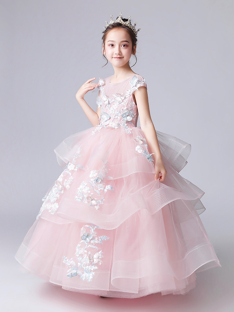Girl'S Gown Flower Boys/Flower Girls Wedding Dress Piano Costume Small Host Catwalks Puffy Yarn Children Birthday Princess Dress