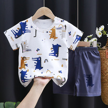 Children's Short-sleeved Suits,summer Clothes Baby Boys Dinosaur Tshirts + Cotton Shorts Set Girls Casual Pajamas Outfits Suit