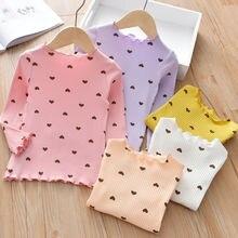 2020 nouveau printemps coton filles T-Shirt à manches longues bébé enfants o-cou bas chemise pour enfants vêtements mignon coeur hauts pour filles