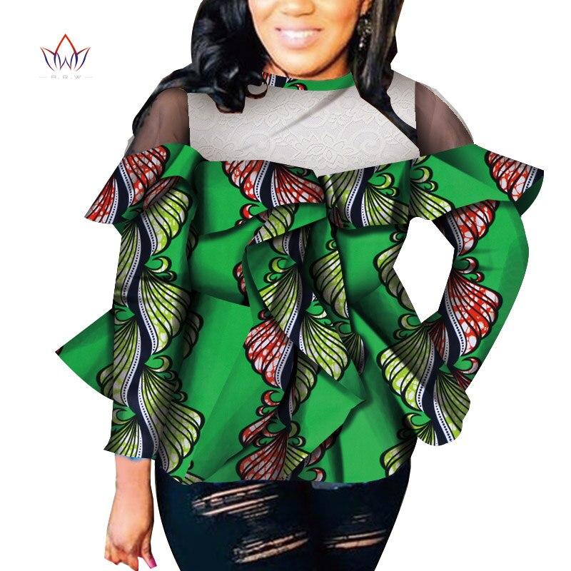 Afrique Style femmes mode moderne à manches longues couverture en dentelle Dashiki africain imprimé hauts chemise de grande taille M-6XL femmes vêtements WY2556