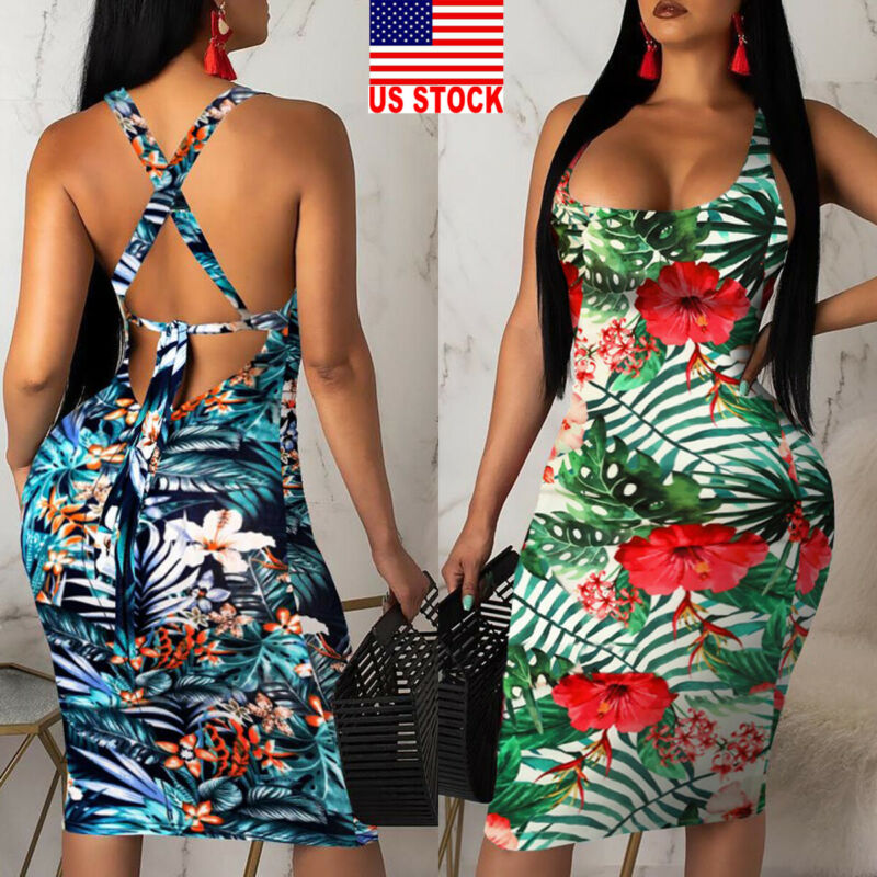 2019 Fashion Womens Ladies Sleeveless Summer Boho Printed Beach Casual Loose Sundress Tight Sexy Sling Hawaiian Dress