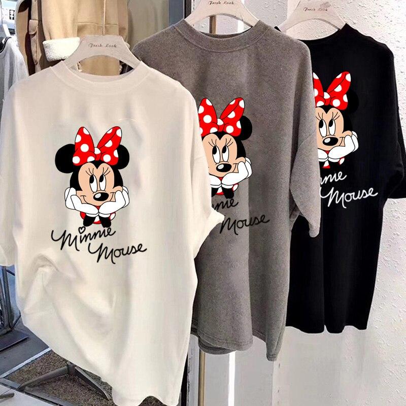 Disney 2021 футболка женская с Микки Маусом Минни Маус женские короткие лето обычная футболка с О-образным вырезом, топы белого цвета, свободная ...