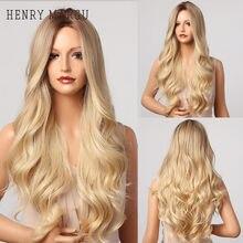Henry margu ombre marrom peruca loira longo ondulado meio parte traje cosplay festa peruca sintética para mulher afro fibra resistente ao calor