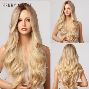 HENRY MARGU Ombre Brown Blonde Wig Long Wavy Middle Part Costume Cosplay Party Synthetic Wig for Women Afro Heat Resistant Fibre
