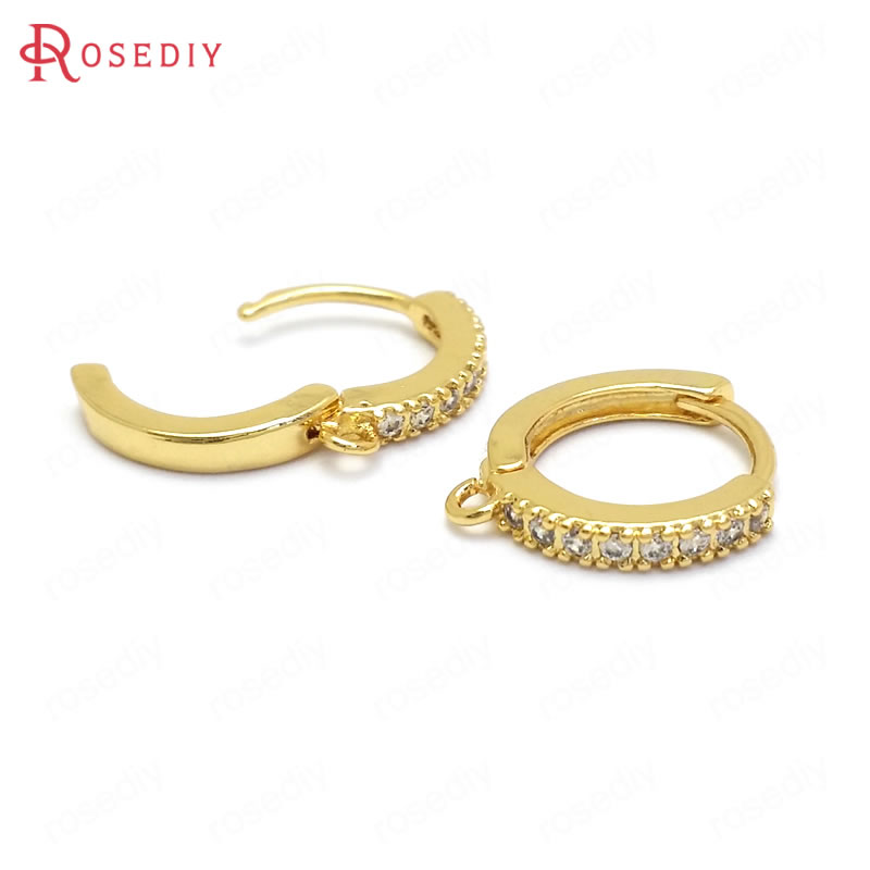 Findings-Accessories Earring-Hooks Jewelry-Making-Supplies Zircon 24K Brass Gold-Color title=