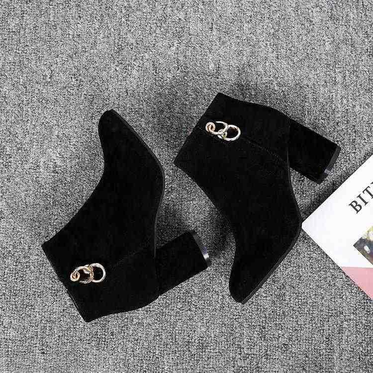 2019 Chelsea Stiefel Frauen Elastische Ankle Schwein Wildleder Brogue Boot Echtes Leder Qualität Marke Dame Schuhe Handmade