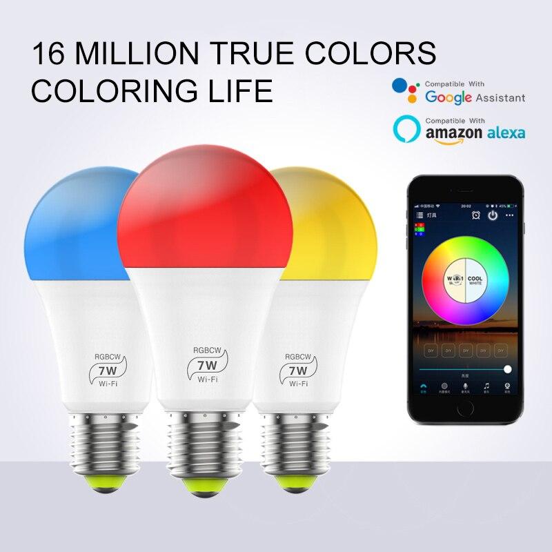Умная Светодиодная лампа с регулируемой яркостью 7 Вт E27 WiFi, приложение для управления Alexa Google Assistant, управление голосом, пробуждение, умная л...
