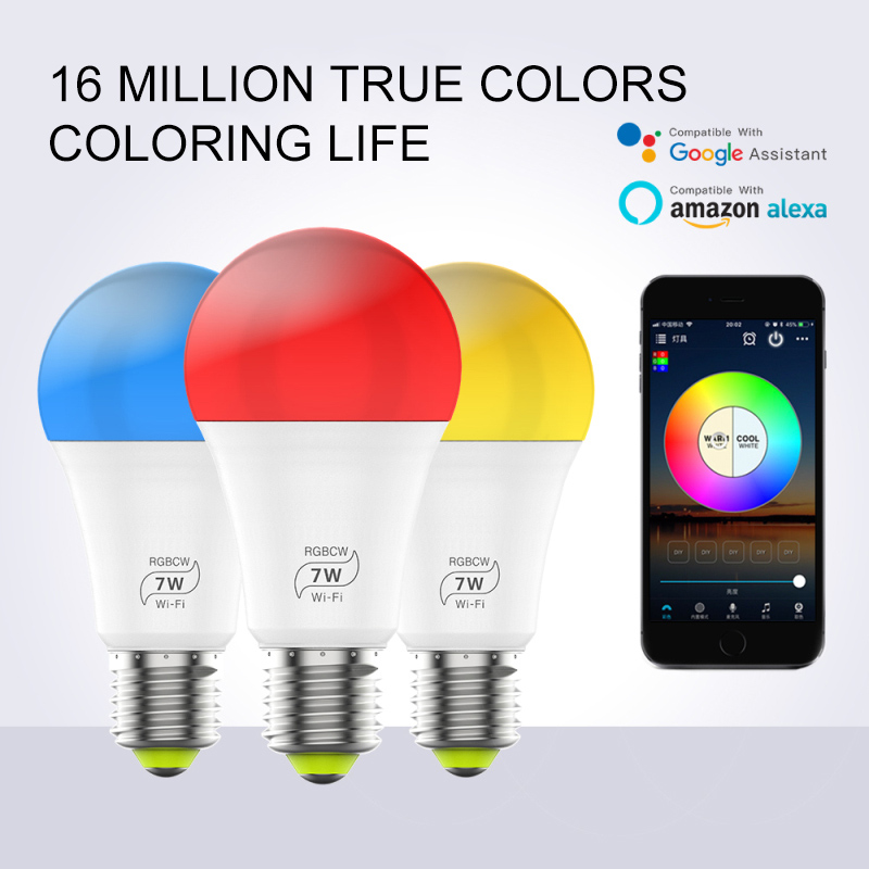 Dimmable 7W E27 WiFi Smart Light Bulb LED Lamp App Operate Alexa Google Assistant Voice Control Wake Up Smart Lamp Nightlight