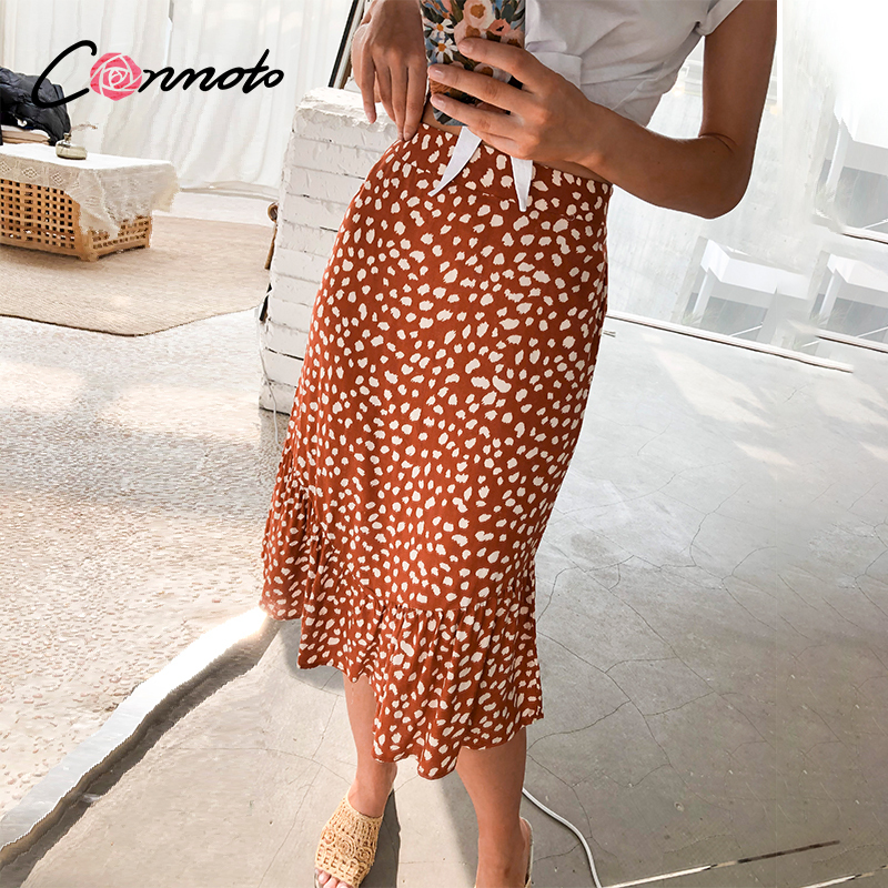 Conmoto Leopard High Waist Ruffles Skirts Women Summer 2020 Beach Sexy Skirts Red Casual Boho Patchwork Femme Midi Skirts