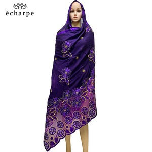 Image 5 - New African Women Scarfs muslim embroidery soft cotton big scarf for shawls wraps pashmina BM937