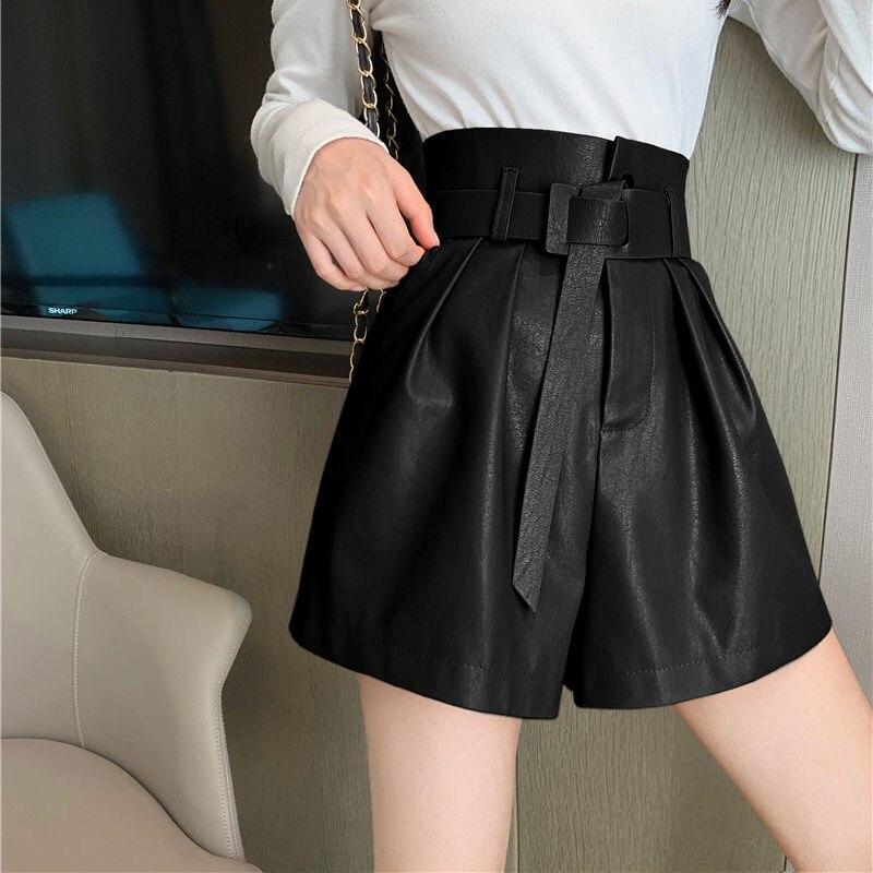 NiceMix Spring Summer Black Short PU Leather Women's Short Pant With Belt High Waist Wide Leg Pants Chic Shorts Female Pocket