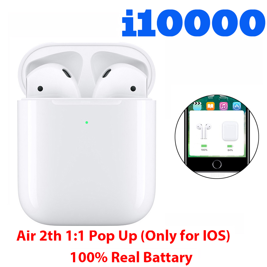 I10000 Tws Wireless Music Earphone Mini Bluetooth Sports Earbud I10000 TWS 1:1 Tap Control 100% 3 Real Battery Not H1 Chip I2000 I500 I30000 For Xiaomi K20 Samsung M30s Huawei Mete 30
