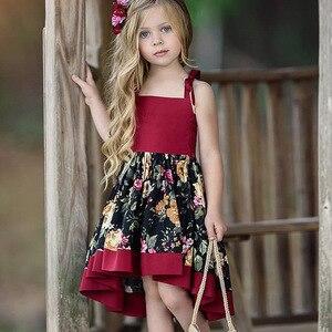 Girls Vintage Dresses Floral Print Backless Dress Summer Princess Dresses(China)