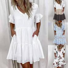 Women Ruffles Mini Dress Elegant  A Line Sexy V Neck Floral Print Vintage Dresses Female Loose Pocket Casual Party Vestidos
