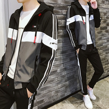 Autumn Winter Men Sport Suit Tracksuit Quickly Dry Zip Up Hoodie Jacket+sweatpant Casual Jogger Running Outfit Set Sportswear