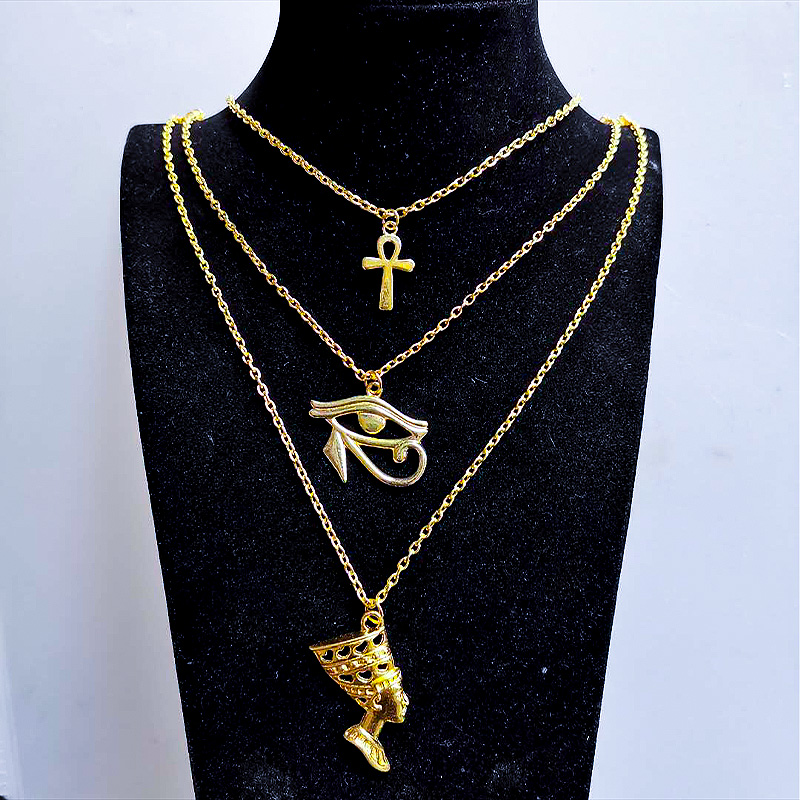 Layered Necklace Women Egypt Eye Of Horus Queen Pharaoh Ankh Cross Pendant Amulet Necklaces African Multilayer Egyption Jewelry
