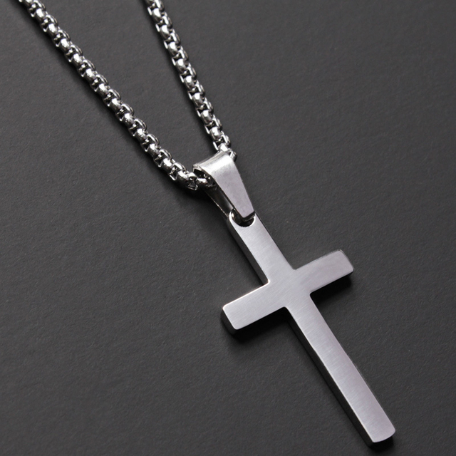 2020 Fashion New Classic Cross Men Necklace  Stainless Steel Chain Pendant Necklace For Men Jewelry Gift 5