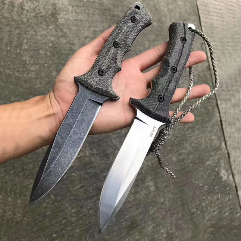 MANCROZ CR Flat Dark Earth Straight knife AUS-10 fixed blade Flax mica handle Survival EDC Pocket knives