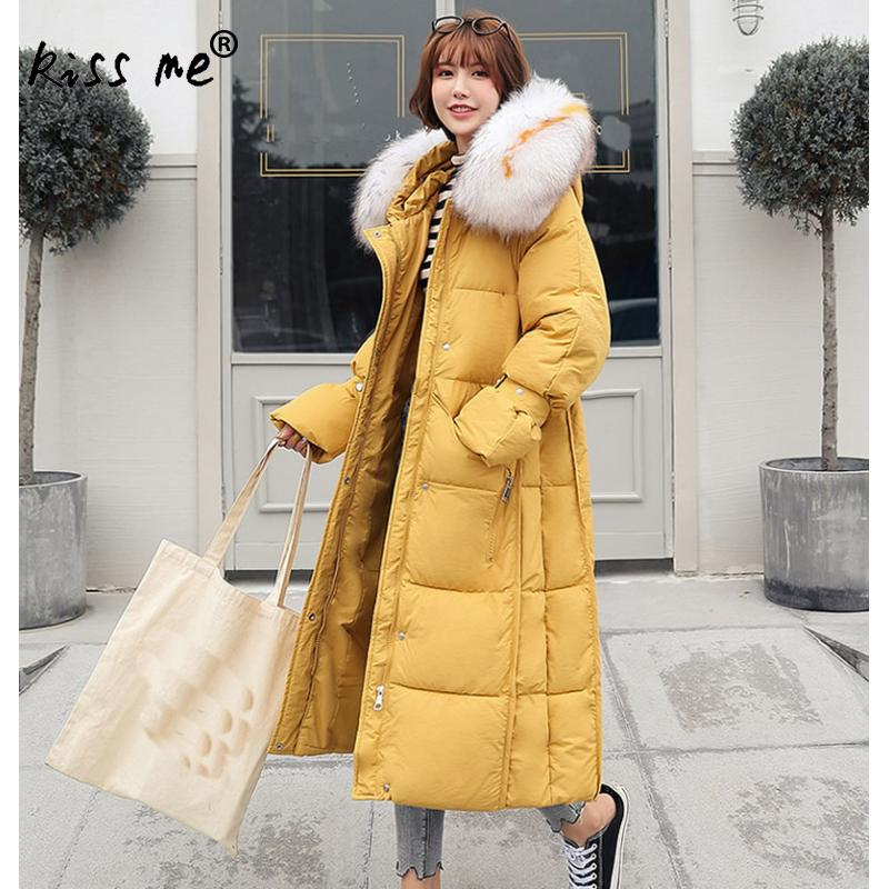 Women Solid Mid-Long Casual Outdoor Down Coat Female Camping Hiking Down Jacket Thermal Warm Winter Cotton Clothing Hooded