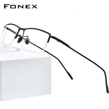 FONEX czysty tytan oczu ramki okularów dla mężczyzn nowa recepta pół kwadratowych ramki okularów krótkowzroczność okulary optyczne 8514 tanie i dobre opinie Tytanu NONE CN (pochodzenie) Stałe 8514 Male High Quality Ultralight Ultra Light Semi Rimless Korea Japan FRAMES Okulary akcesoria