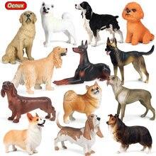 Oenux novo cão animal figura de ação corgi poodle golden retriever sausagedog samoyed modelo figurinhas pvc brinquedo coleção para crianças