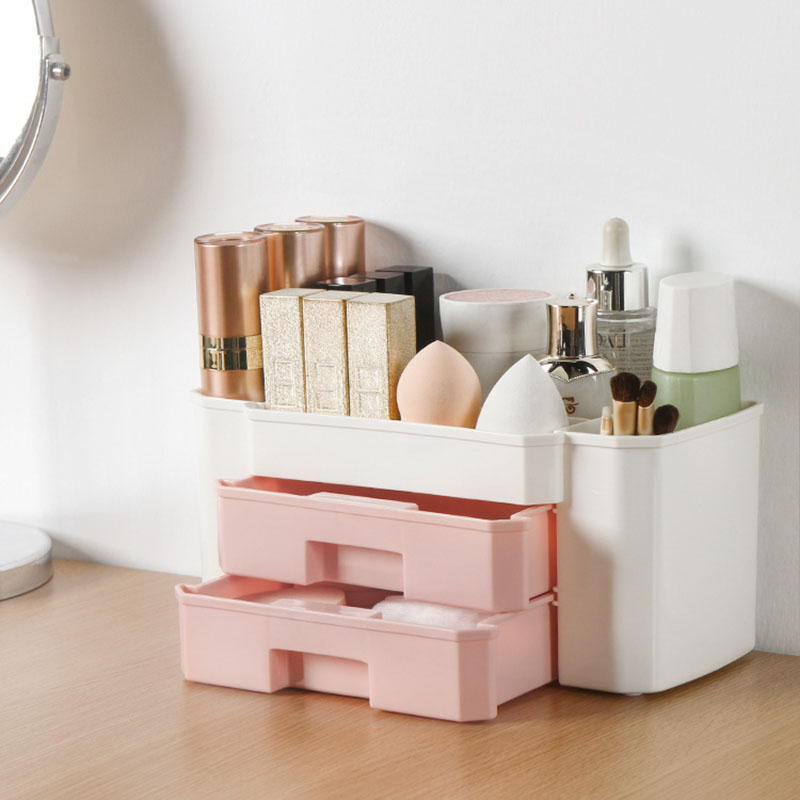 YiCleaner Makeup-organizer Plastic Cosmetics Box Large Makeup Holder Nail-Polish Organizer Swabs-Holder Bathroom Storage Box