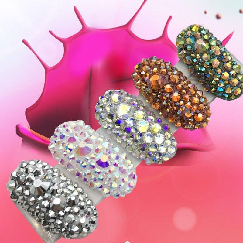 Swarovski – Strass de manucure en cristal, multi-tailles, décoration  d'ongles, breloques, pierres pour Designs 3D, Accessoires d'ongles, SS4-SS16