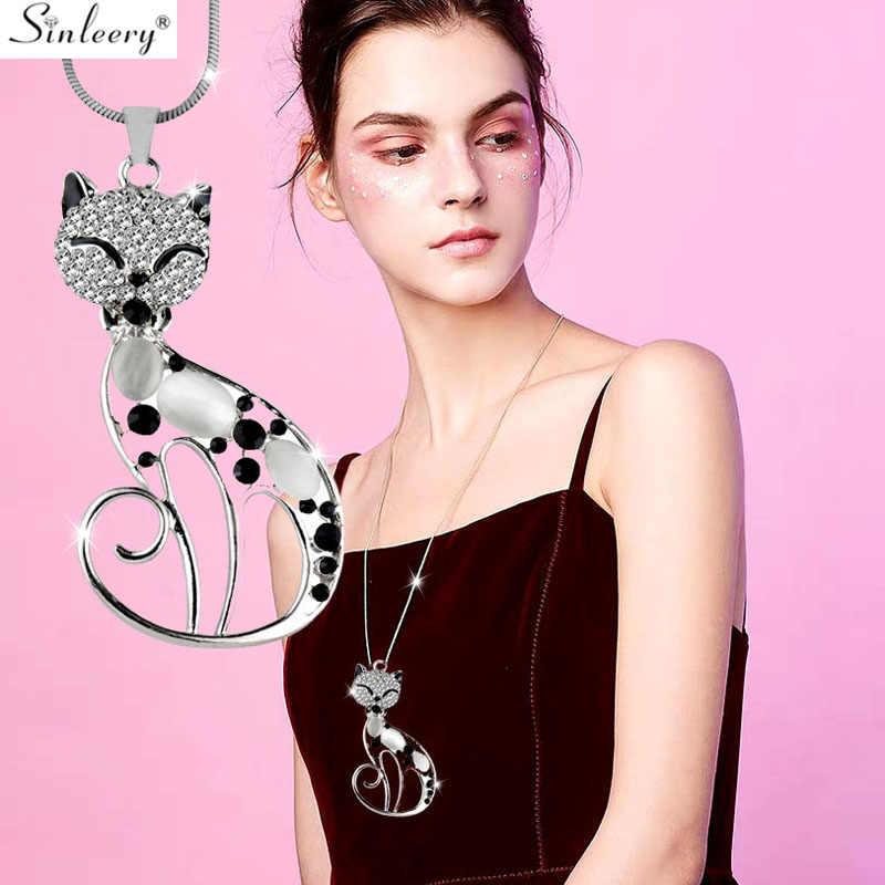 SINLEERY sevimli Opal taş Rhinestone hayvan kedi kolye uzun kolye kadınlar için kız takı hediyeler MY410 SSB